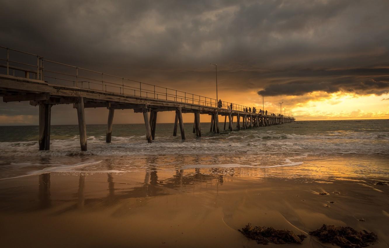 Photo wallpaper landscape, sunset, clouds, bridge, nature, beauty
