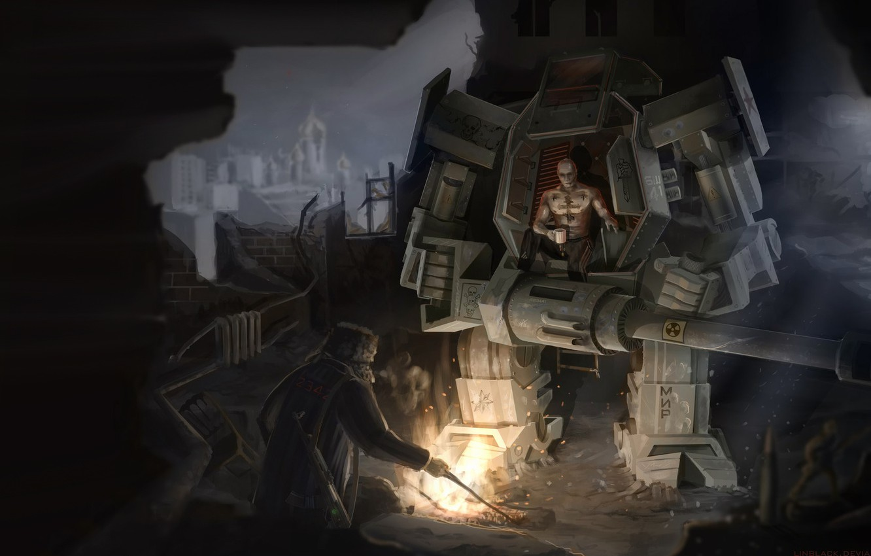 Photo wallpaper Robot, Fire, People, Apocalypse, Russia, Art, Art, Russia, by Alexander Linblack, Alexander Linblack, by Linblack, …