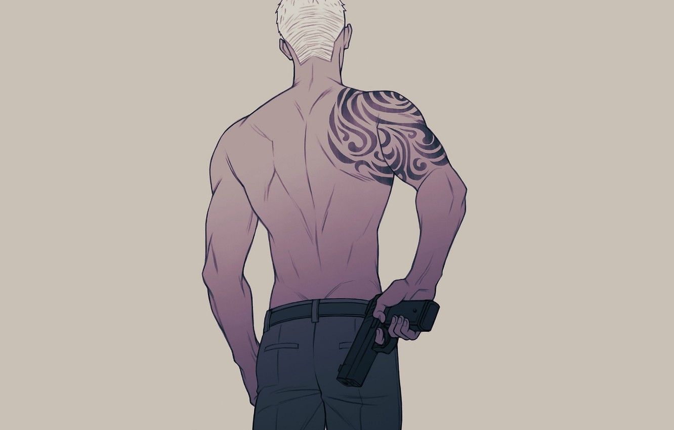 Photo wallpaper back, tattoo, guy, once, 19 days, 19 Days