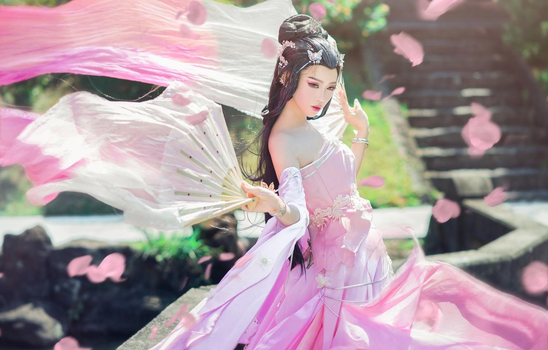 Photo wallpaper look, girl, light, decoration, nature, face, pose, style, background, pink, street, spring, hands, makeup, petals, ...