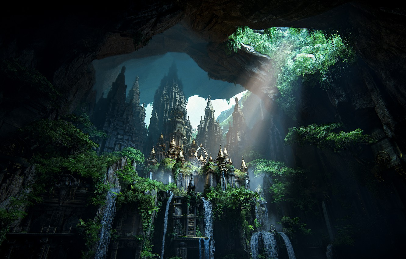 Wallpaper Waterfall Beauty Lost City Uncharted The Lost Legacy