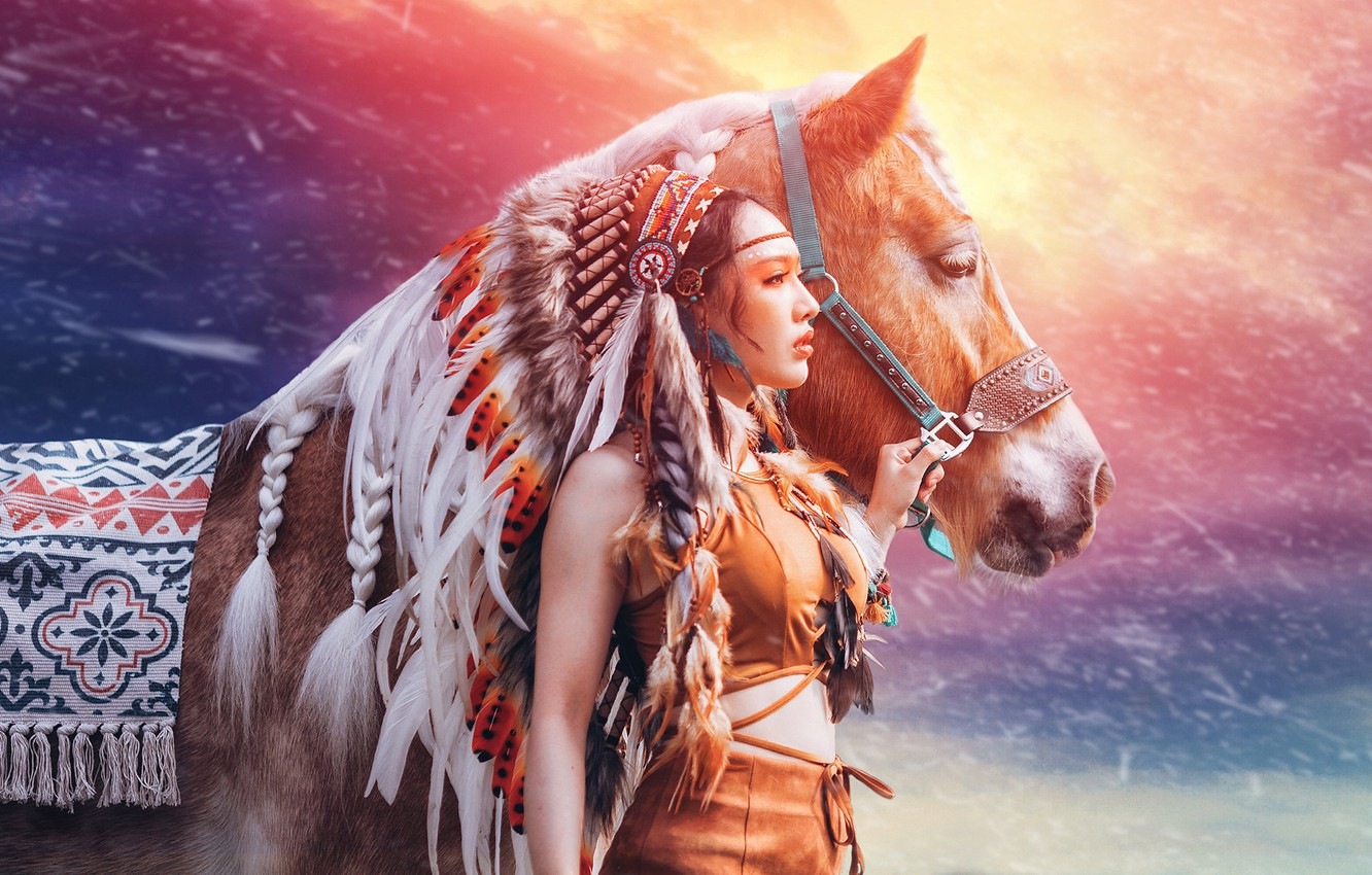 Photo wallpaper girl, background, horse