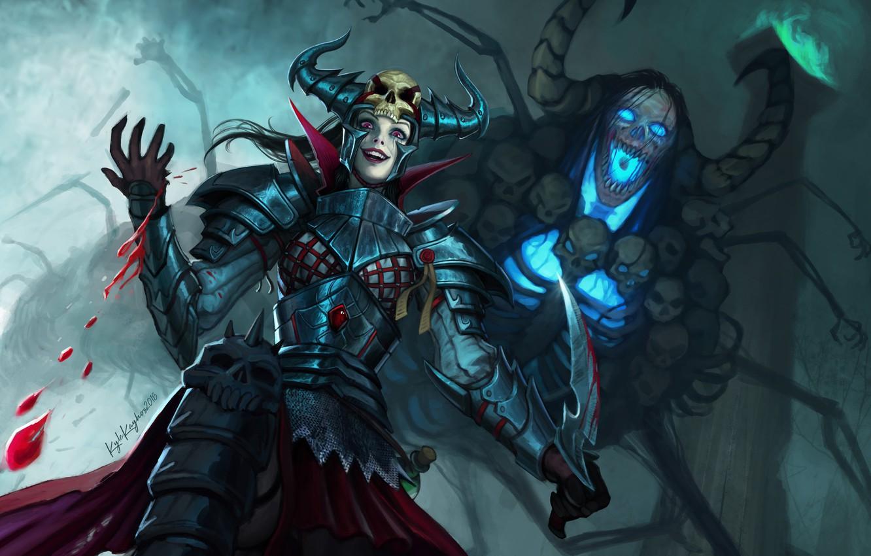 Photo wallpaper look, girl, blood, armor, being, fantasy, art, horns, skull, Fantasy, art