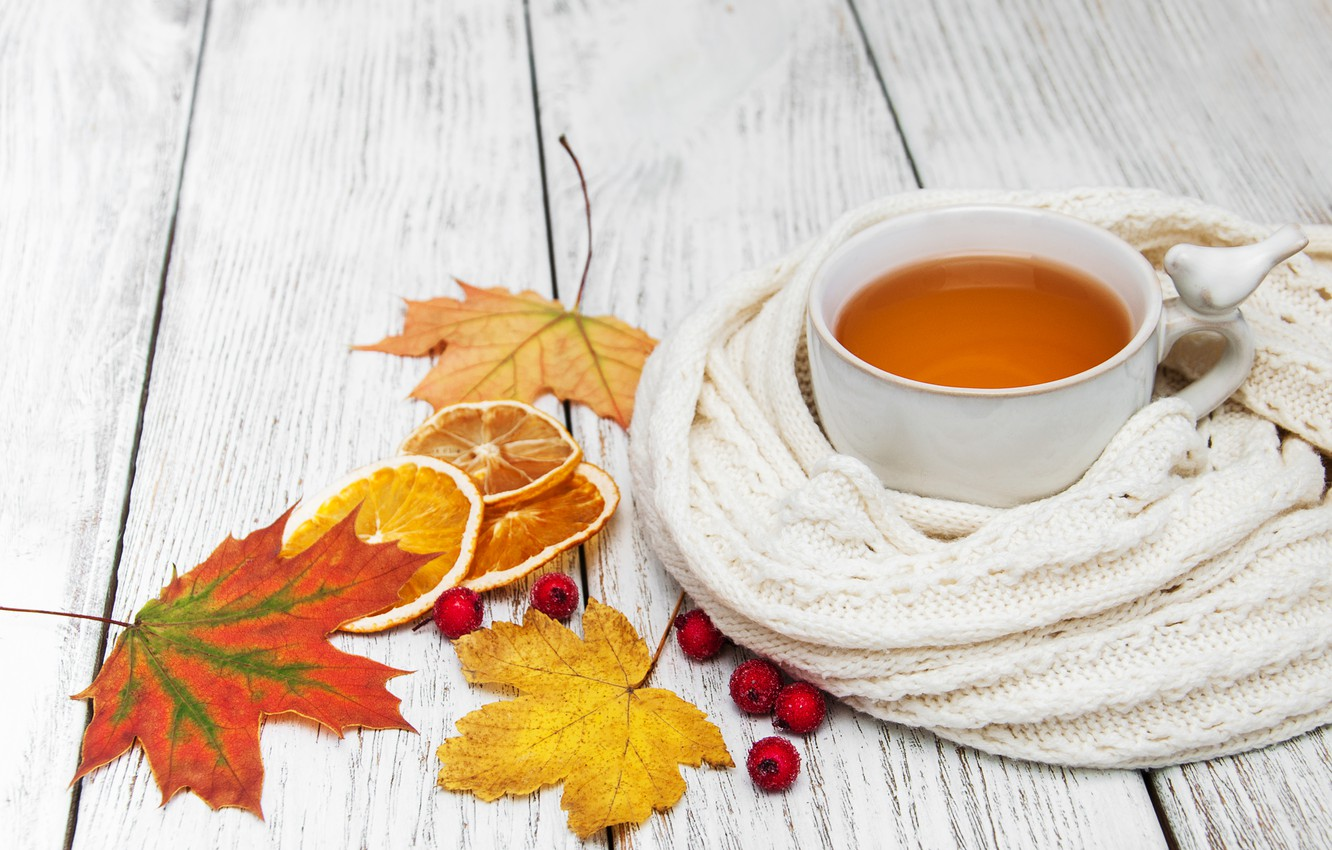 Photo wallpaper autumn, leaves, colorful, scarf, autumn, leaves, cup, tea, scarf, maple, Cup of tea