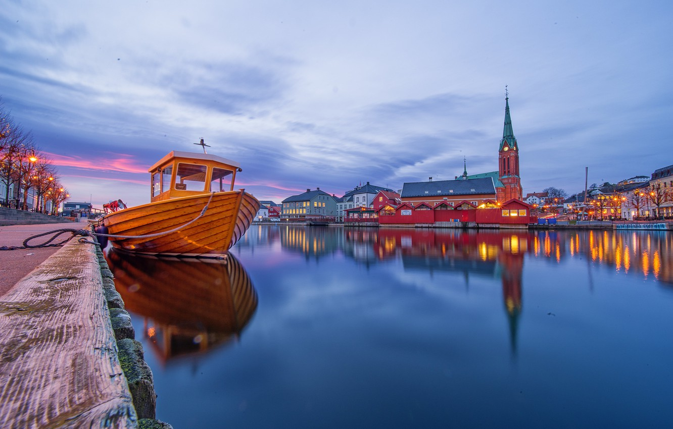 Photo wallpaper lights, boat, the evening, Norway, Church, Norway, Arendal