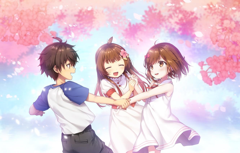 Photo wallpaper children, smile, Sakura, games, anime, art, memory, Deep One