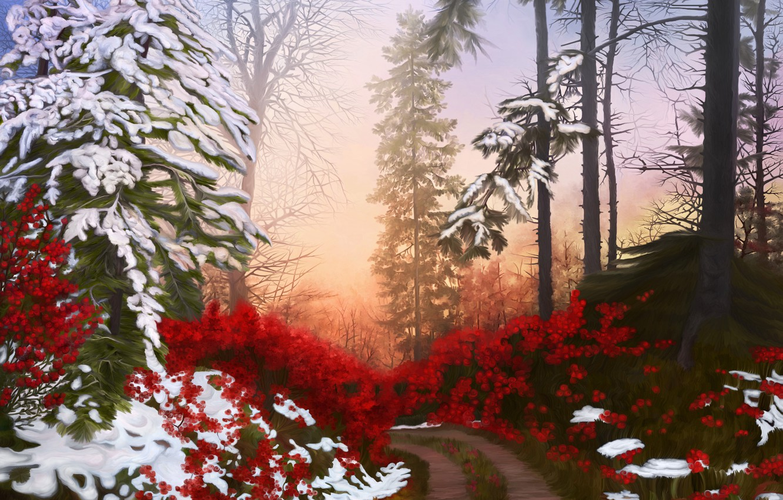 Photo wallpaper winter, road, forest, snow, nature, art, Nina Vels, Christmas way