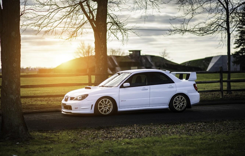 Photo wallpaper Subaru, Impreza, WRX, STI, Sunset, White