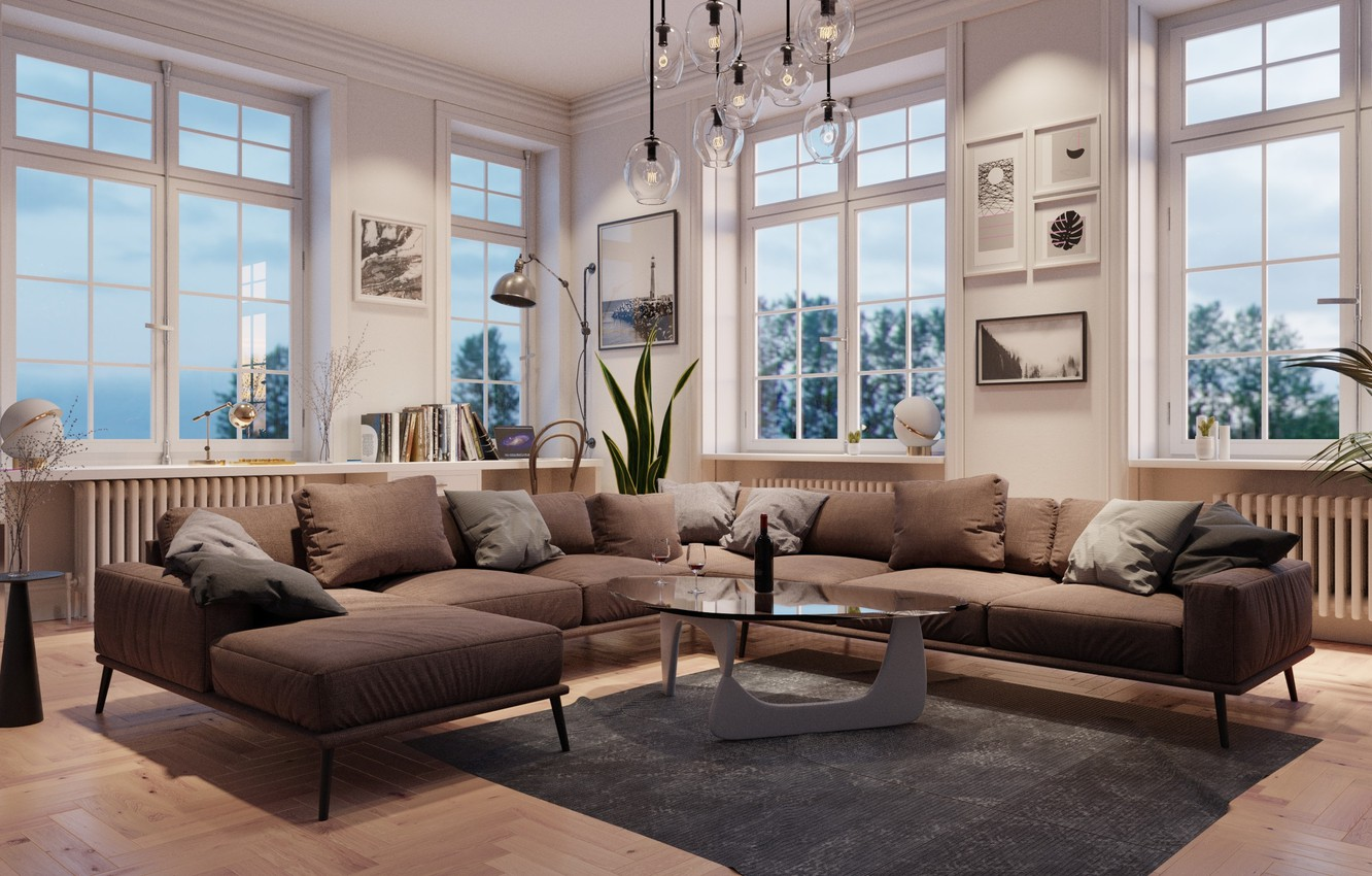 Photo wallpaper design, room, sofa, Windows, interior, pillow, chandelier, table, living room