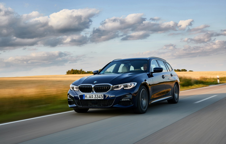 Photo wallpaper BMW, 3-series, universal, on the road, dark blue, 3P, 2020, G21, 330d xDrive Touring