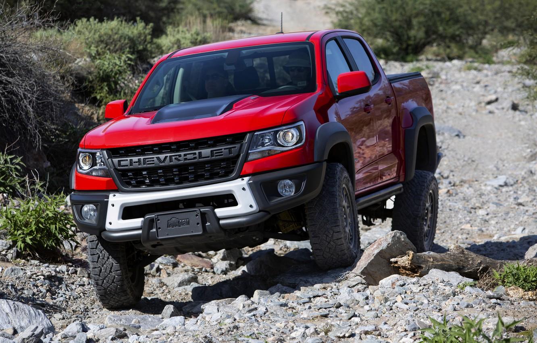 Photo wallpaper red, stones, vegetation, Chevrolet, pickup, Colorado, 2019, ZR2 Bison