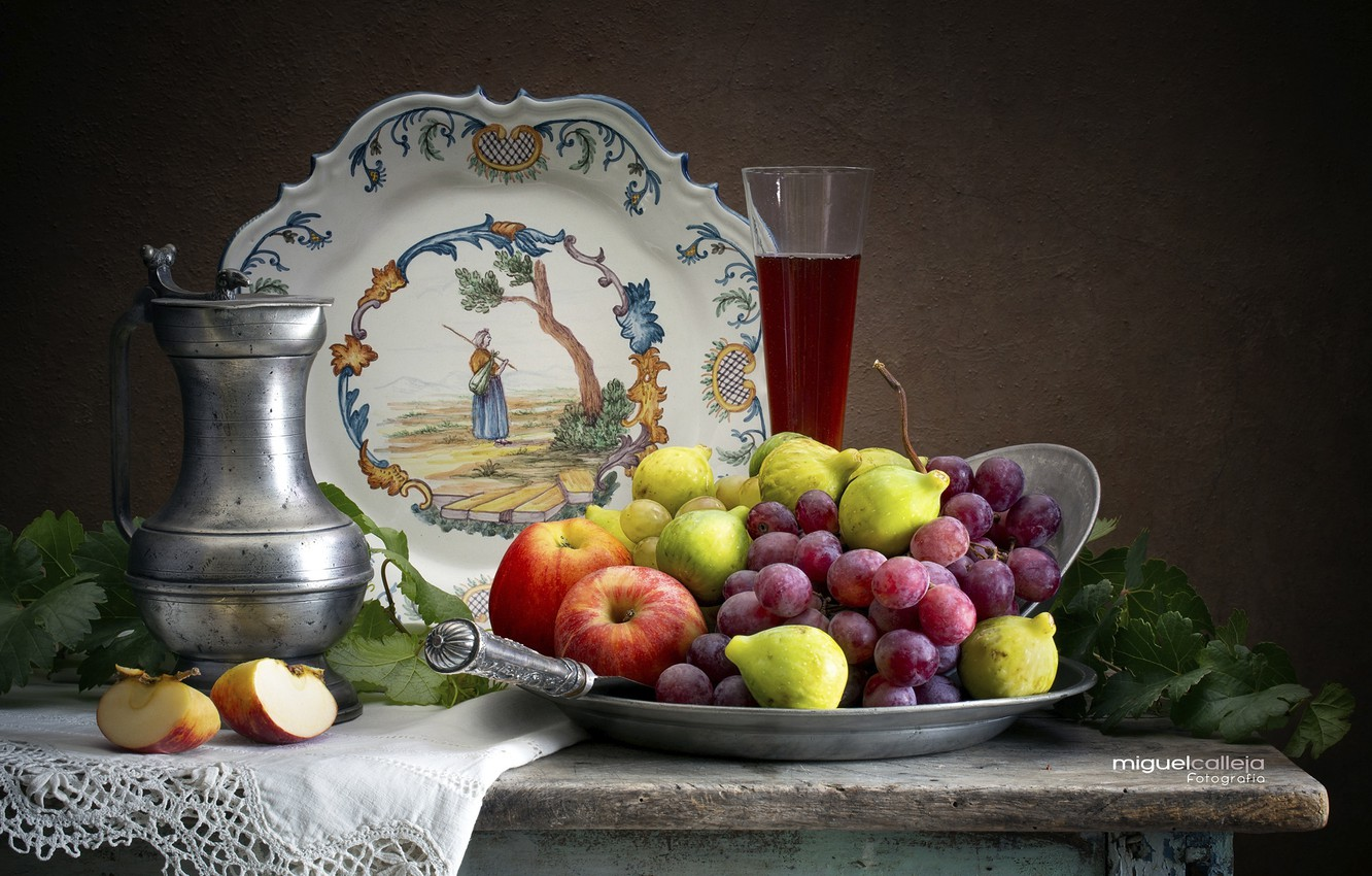 Photo wallpaper wine, apples, glass, plate, grapes, still life, figs