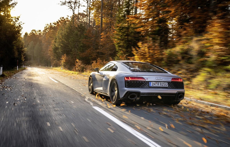Photo wallpaper Audi, Audi, sports coupe, sports car, 2019, Audi R8 V10 RWD Coupe, Florett Silver, silver …
