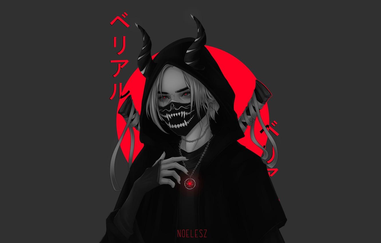 Photo wallpaper fangs, grin, witch, grey background, red eyes, pentagram, black cloak, black mask, Horny, insulation, blood …