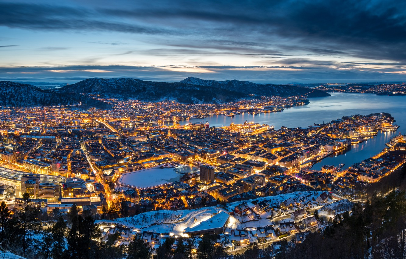 Photo wallpaper winter, mountains, Norway, panorama, night city, Norway, Bergen, Mountains, The Bay Of Vågen