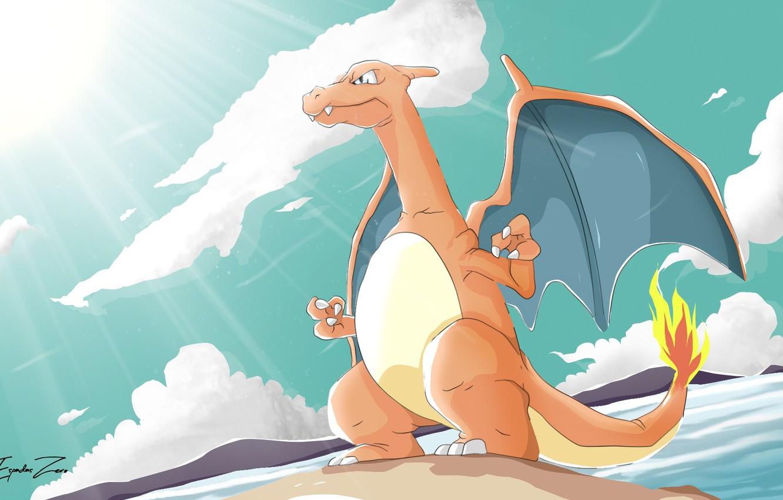 Photo wallpaper dragon, dinosaur, Pokemon, Pokemon, Charizard