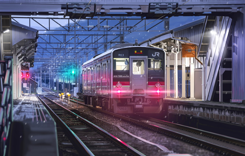 Photo wallpaper train, art, railroad