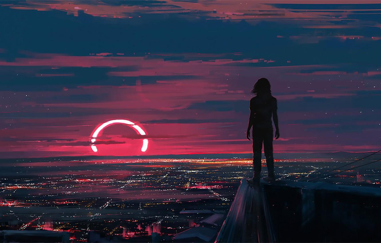 Photo wallpaper Sunset, Figure, The city, People, Art, Lunar, Aenami, by Aenami, Alena Aenam The, Cover art, …
