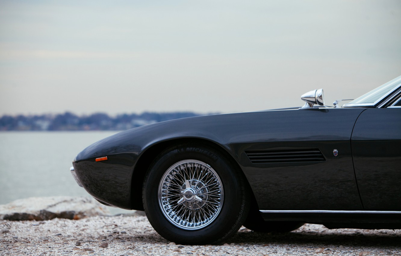 Photo wallpaper black, Maserati, 1969, Roadster, spider, the front part, Ghibli Spider