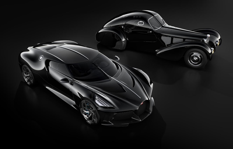 Photo wallpaper machine, retro, black, Bugatti, stylish, hypercar, The Black Car