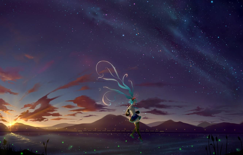 Photo wallpaper girl, night, the wind, Hatsune Miku, Vocaloid, Vocaloid, long hair, Hatsune Miku