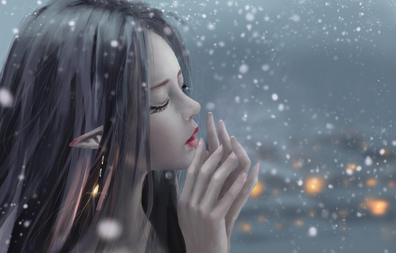 Photo wallpaper girl, fantasy, snow, artist, elf, digital art, artwork, fantasy art, closed eyes, fantasy girl, pointed …