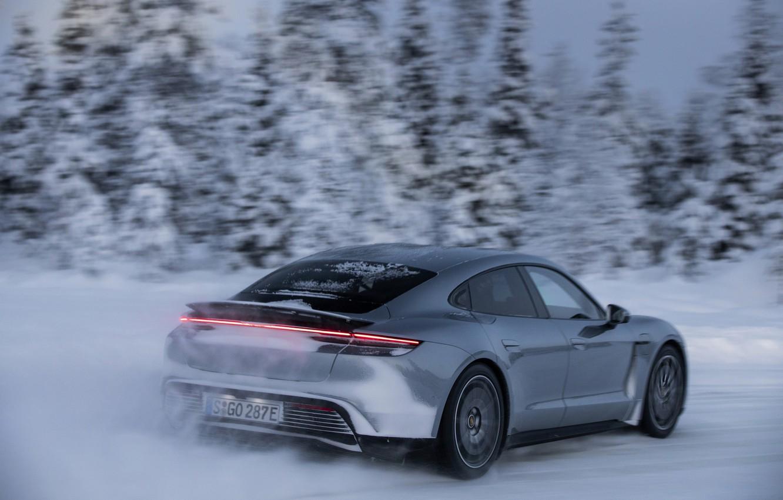 Photo wallpaper snow, grey, speed, Porsche, spoiler, 2020, Taycan, Taycan 4S