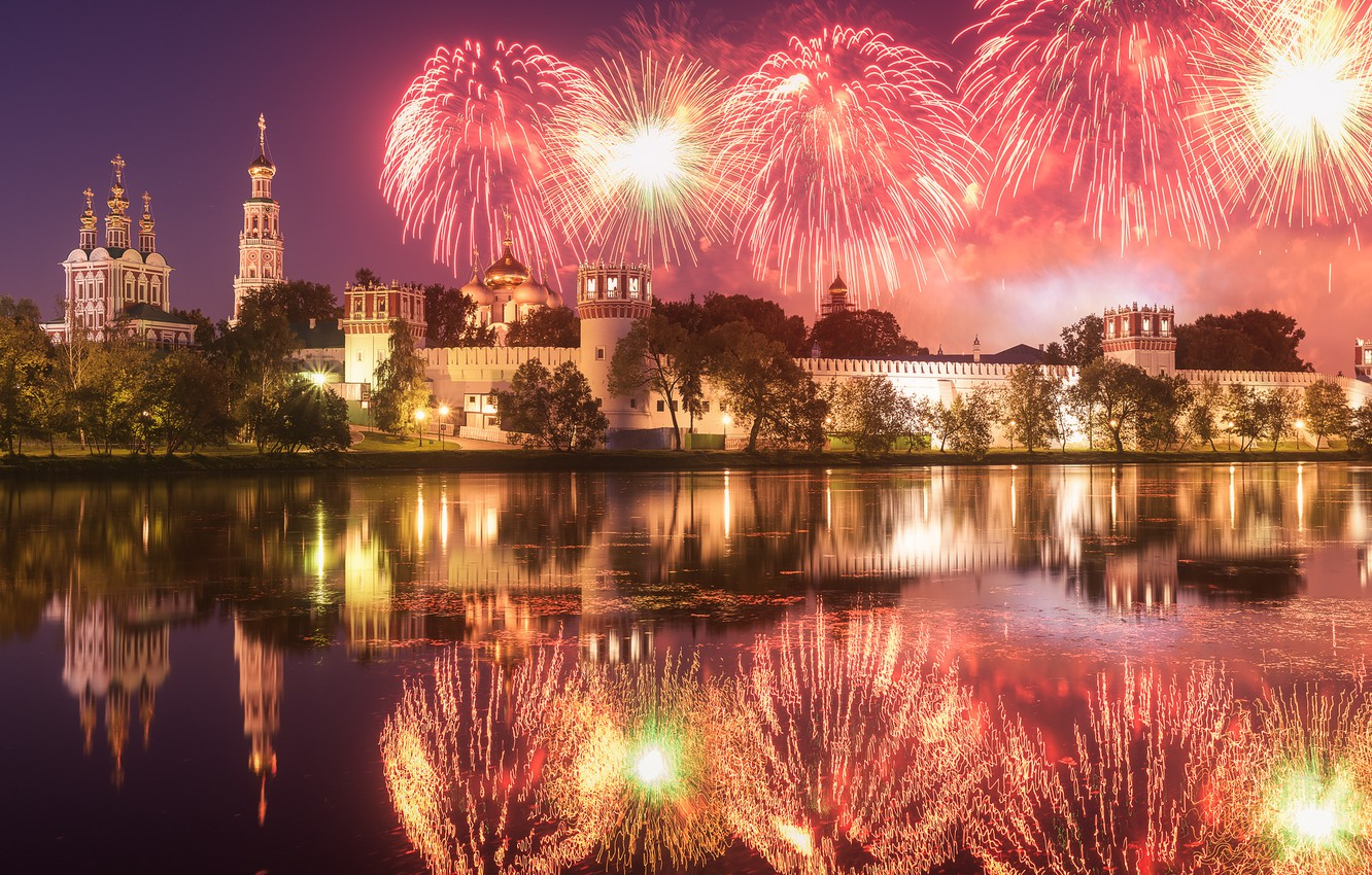 Photo wallpaper the sky, water, night, reflection, river, salute, Moscow, fireworks, Rostov Anton