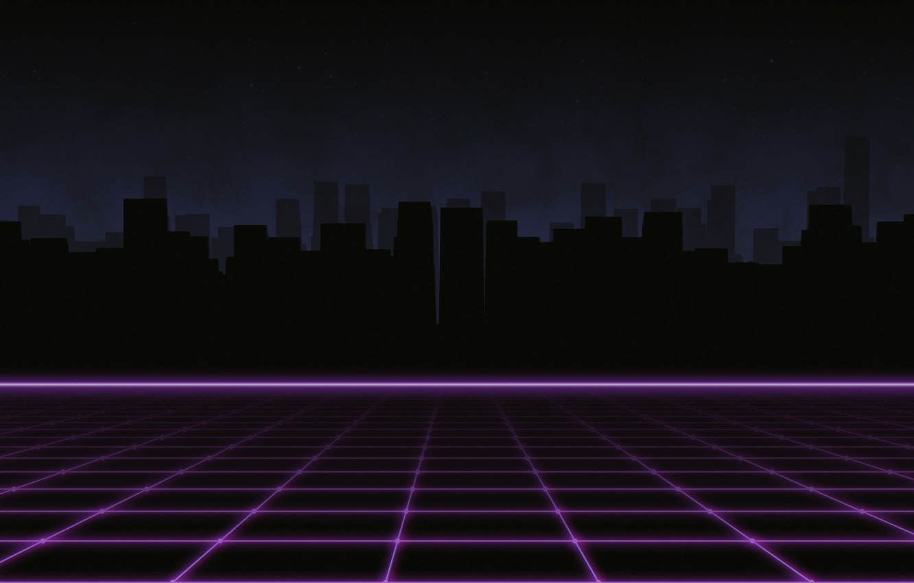 Wallpaper Music, The city, Silhouette, Background, 80s, Neon