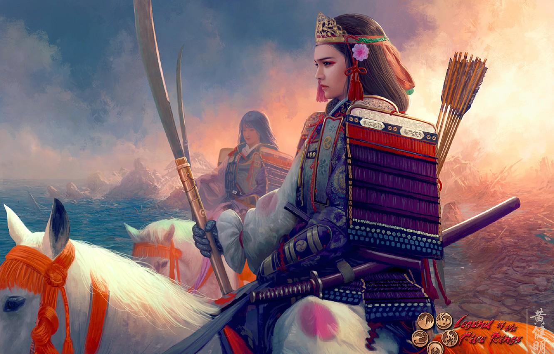 Photo wallpaper katana, armor, crown, rider, samurai, Mario Wibisono, arrows, art, peak, coast, white horse, shoulders, the …