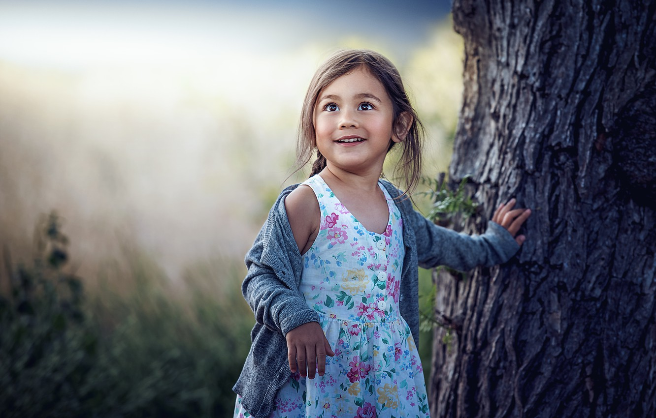Photo wallpaper joy, tree, girl, bokeh