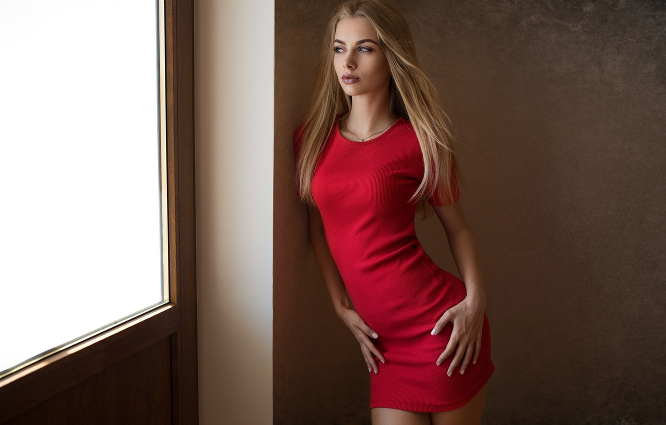 Photo wallpaper pose, wall, model, portrait, makeup, figure, slim, dress, hairstyle, blonde, beauty, is, in red, sexy, …