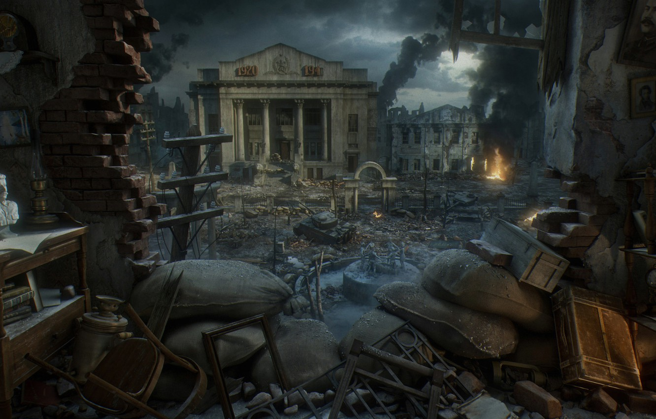 Photo wallpaper the city, war, bust, Stalin, Stalingrad, Stalingrad, Yura Gvozdenko