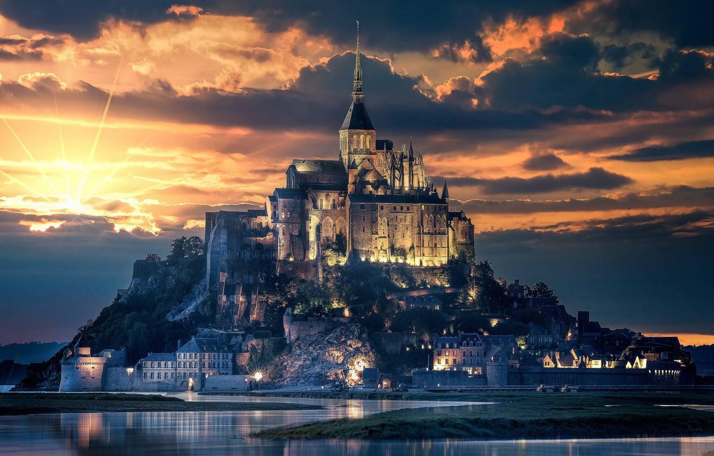 Photo wallpaper city, light, beach, cathedral, sky, sea, landscape, nature, sunset, France, clouds, island, evening, sun, castle, …