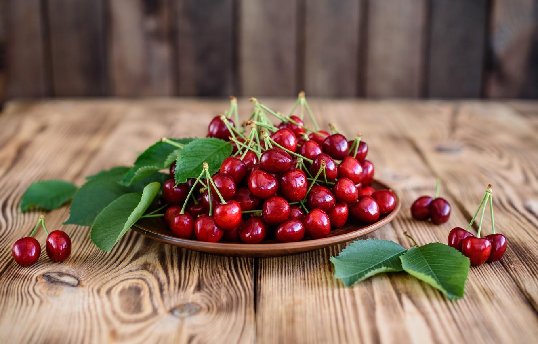 Photo wallpaper summer, plate, fruit, cherry, ripe