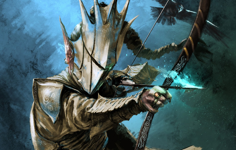 Photo wallpaper armor, bow, fantasy, art, arrow, Archer