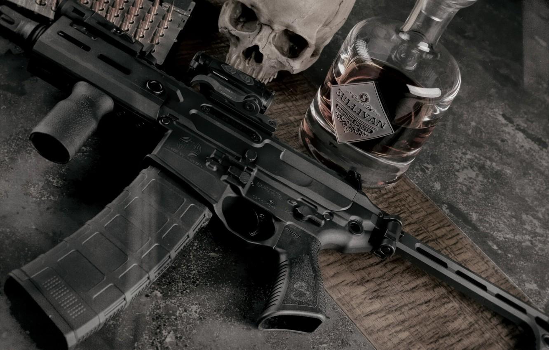 Photo wallpaper weapons, skull, bottle, sake, rifle, weapon, custom, M16, ar-15, assault rifle, m16, assault Rifle, ar-15, …
