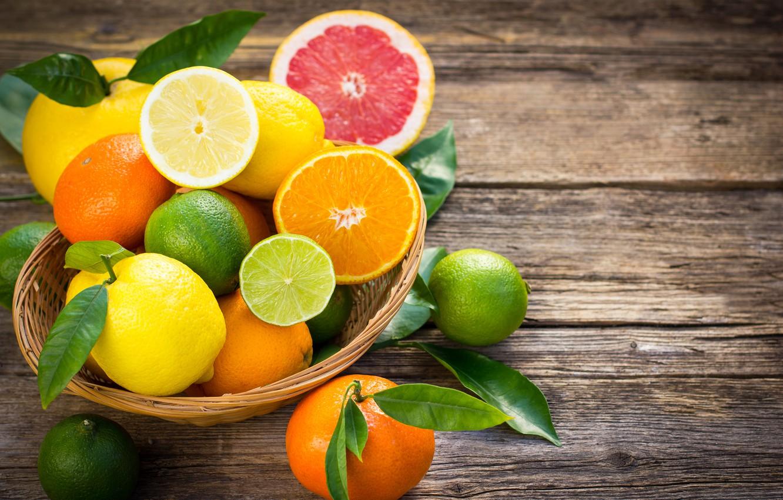 Photo wallpaper oranges, lime, fruit, citrus, lemons