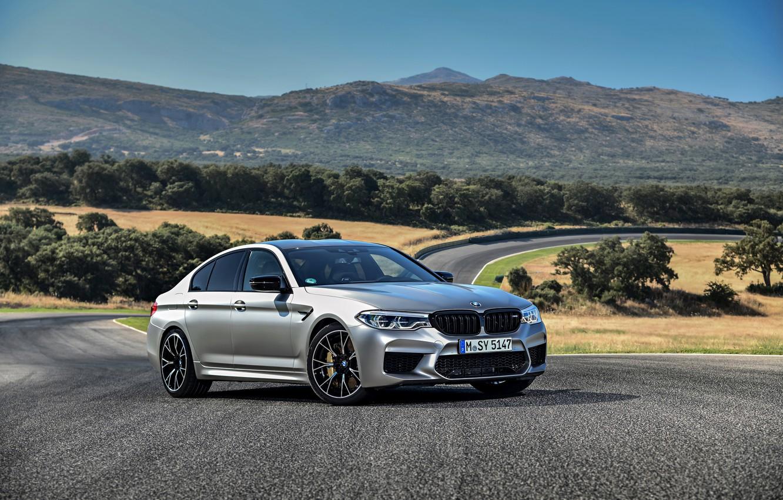 Photo wallpaper grey, BMW, sedan, 4x4, 2018, Speedway, four-door, M5, V8, F90, M5 Competition
