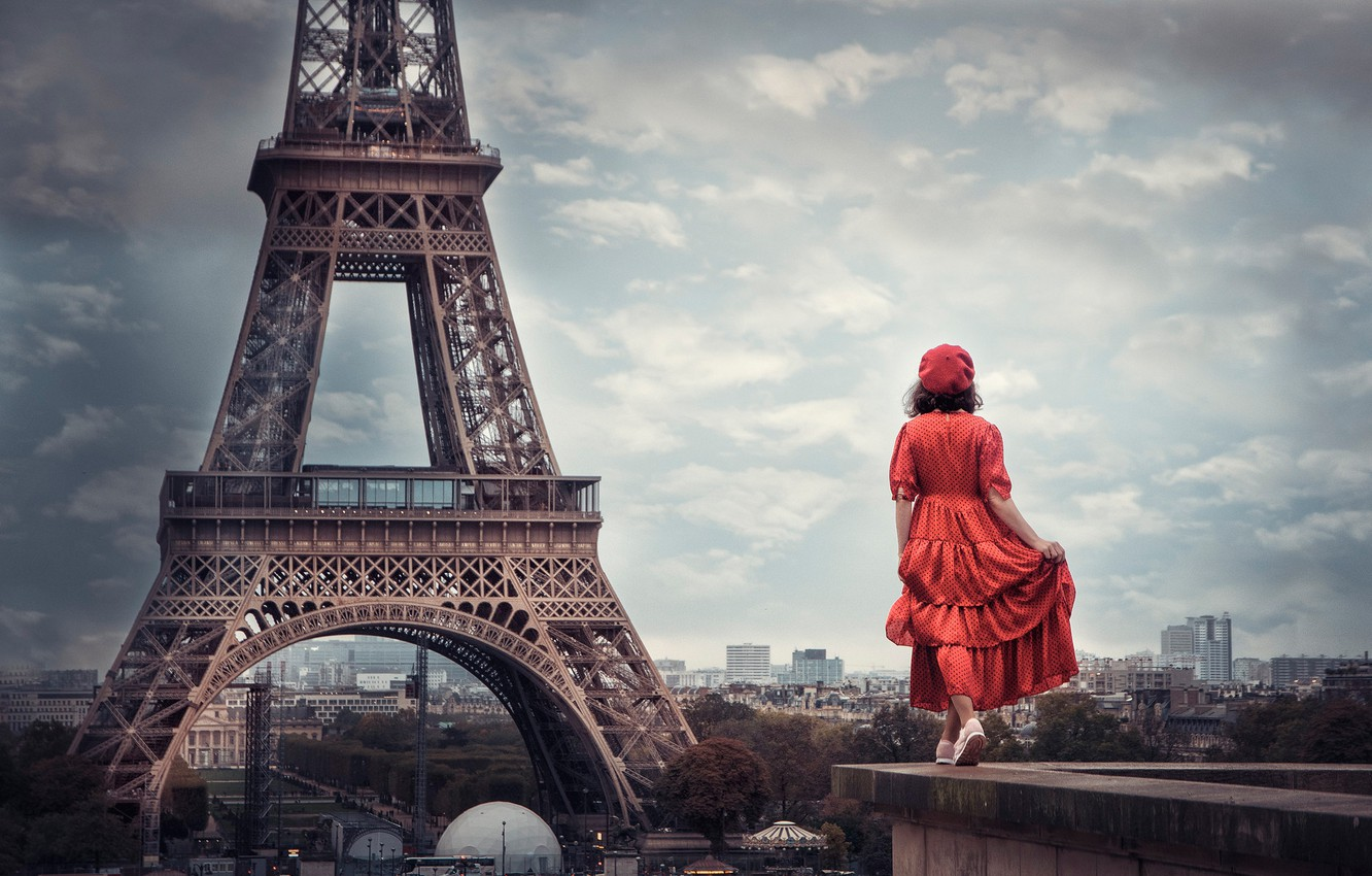 Photo wallpaper girl, mood, France, Paris, the situation, dress, panorama, Eiffel tower, in red, takes