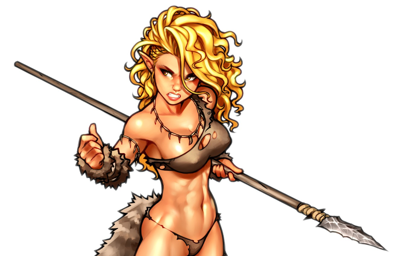 Photo wallpaper chest, girl, elf, body, art, blonde, tail, spear, ears, muscle