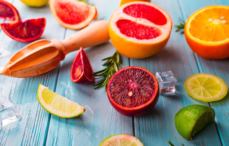 Photo wallpaper orange, lime, grapefruit