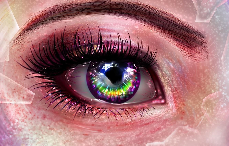 Photo wallpaper eyes, eyelashes, pixels