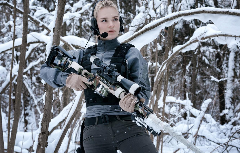 """Photo wallpaper Girl, Winter Forest, Sniper rifle Lobaeva, DVL-10 """"Urbana"""""""
