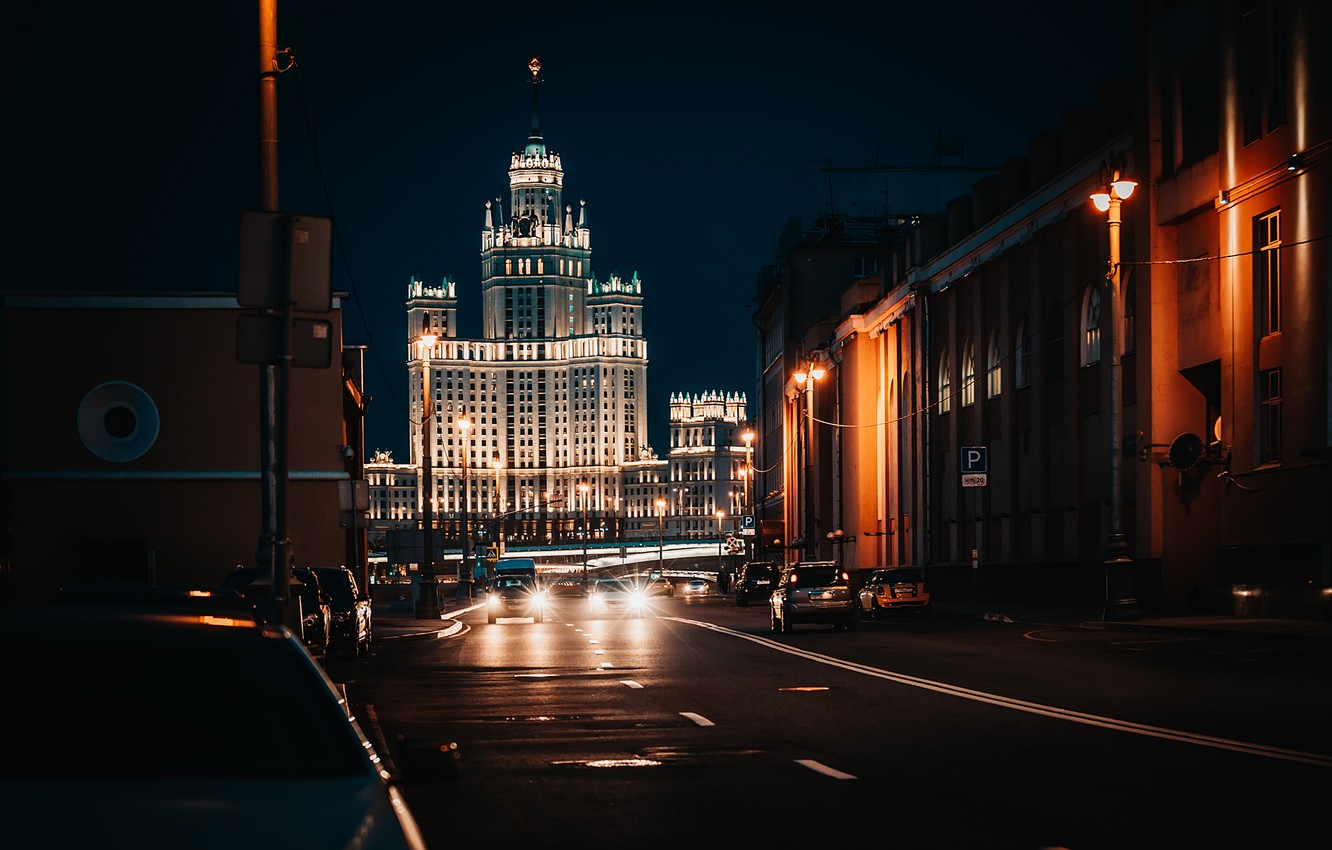 Photo wallpaper road, the city, street, building, home, the evening, lighting, Moscow, architecture, skyscraper, Kotelnicheskaya embankment