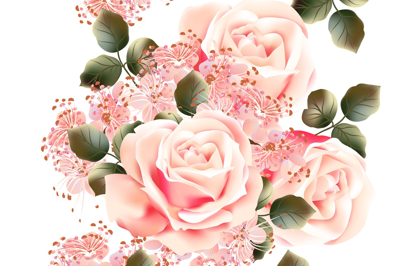 Photo wallpaper white, flowers, background, roses, texture