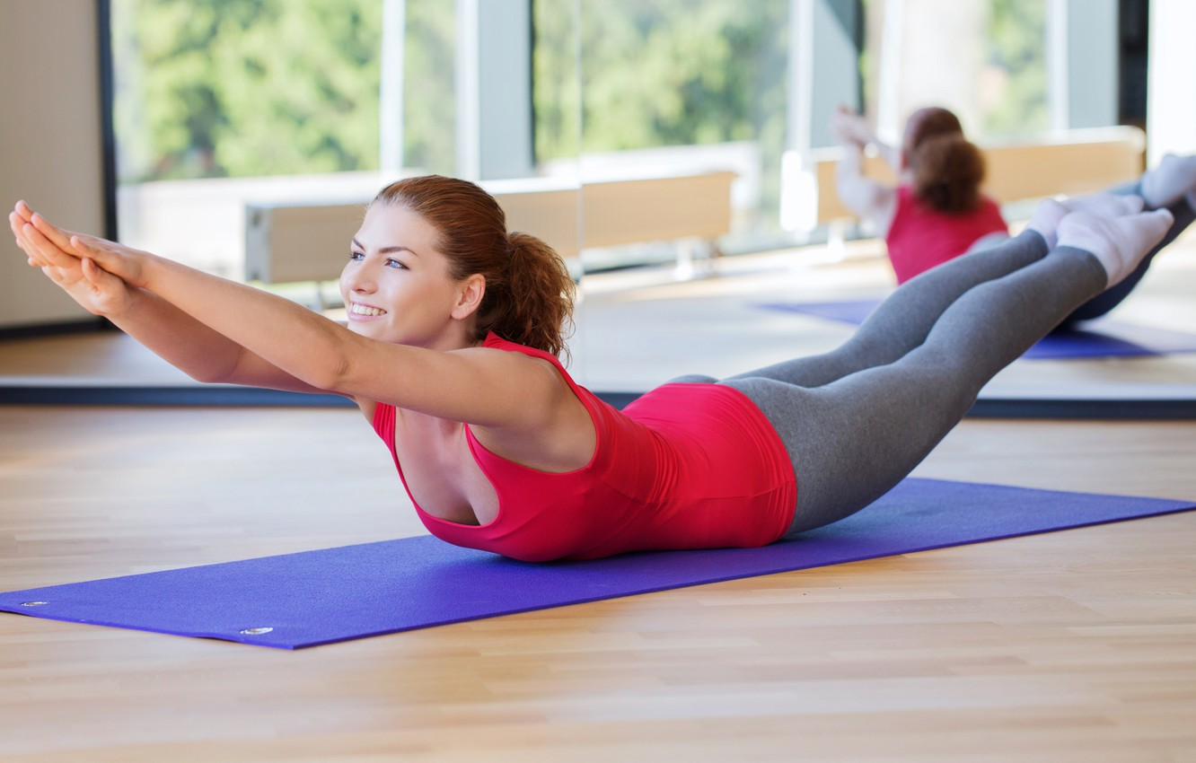 Photo wallpaper fitness, yoga, tights, pilates, streching, red hair girl