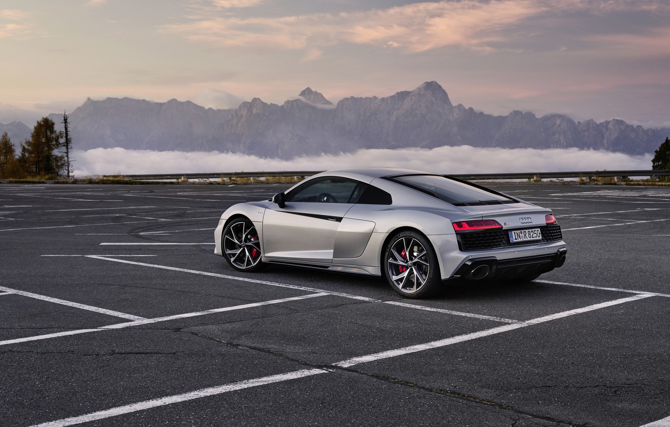 Photo wallpaper sunset, mountains, Audi, the evening, Parking, supercar, Audi R8, Coupe, V10, 2020, RWD