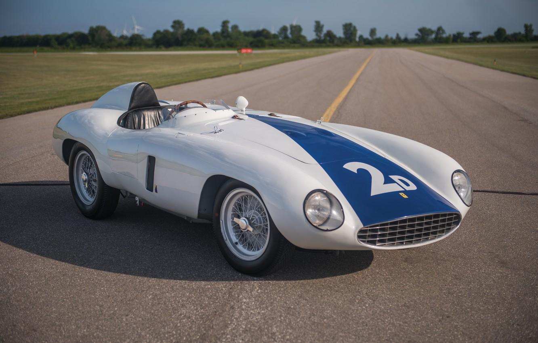 Photo wallpaper Road, Spokes, Ferrari, Lights, Classic, Classic car, 1955, Sports car, Ferrari 750 Monza Spyder
