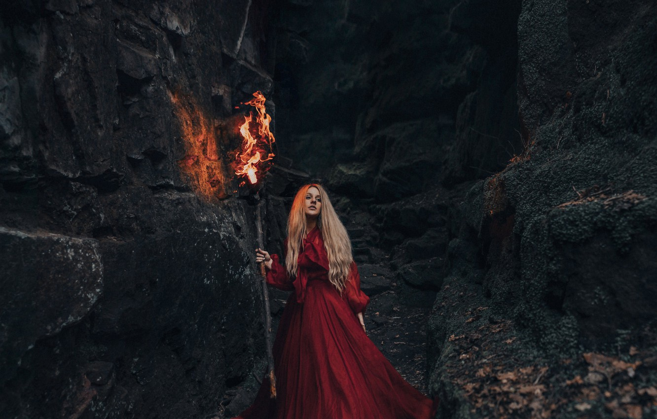Photo wallpaper girl, rocks, torch, red dress, Bird Man